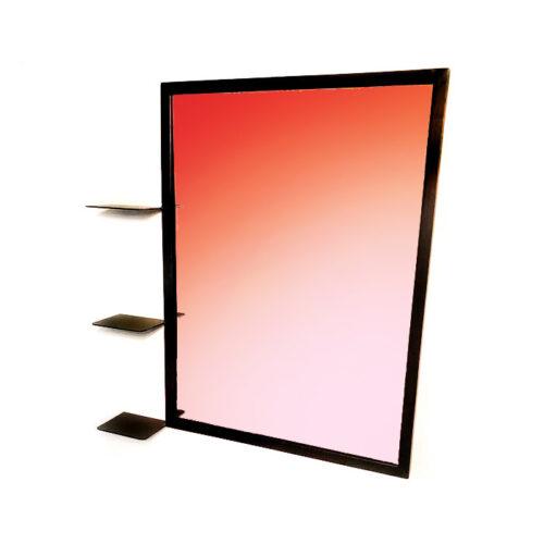 """מראה מלבנית גדולה - מראה עם 3 מדפים ממתכת 81 על 60 ס""""מ"""