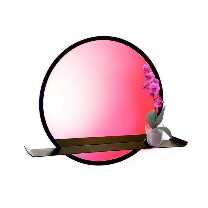 מראה מעוצבת עם מדף - מראה עם מסגרת מתכת