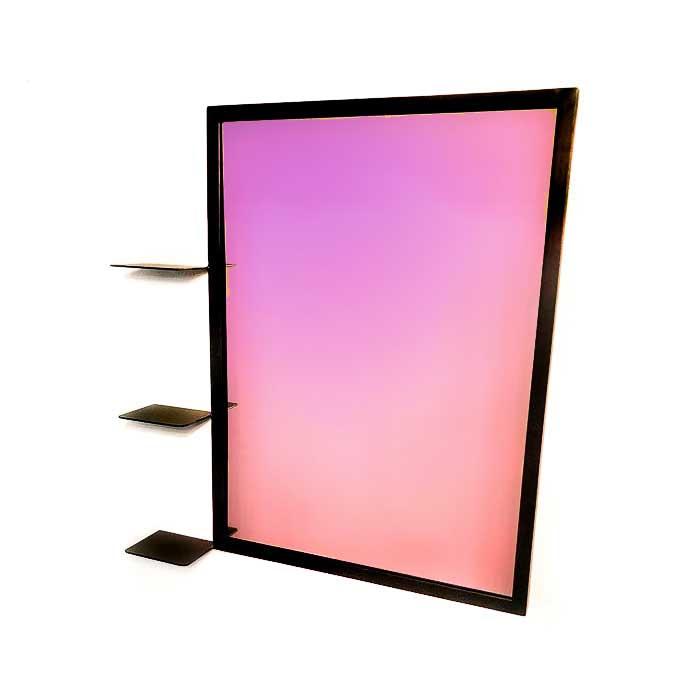 מראה מלבנית ממתכת - מראה עם מדפים