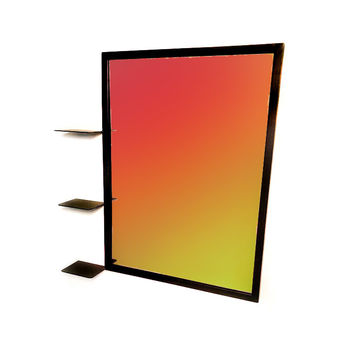 """מראה ממתכת - מראה מלבנית עם 3 מדפים 81 על 60 ס""""מ"""